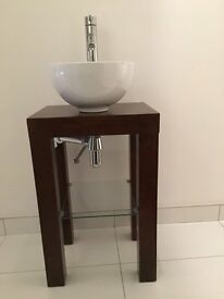 Pedestal Tap, ceramic bowl and wooden unit including glass shelf
