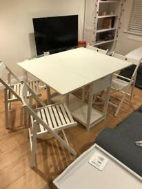 Folding ikea table dining and chairs