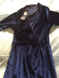 Electric blue velvet wrap party dress