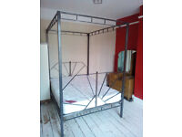 art deco style heavy duty steel four poster double bed