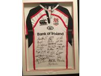 Signed and framed Ulster shirt