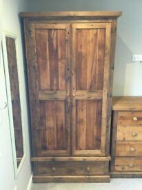 Beautiful handmade reclaimed oak wardrobe and chest of drawers