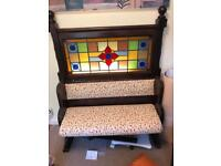Church pew, re-upholstered. Andy Thornton seat stained glass