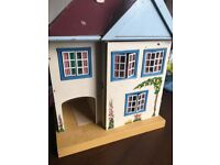 Vintage Dolls House Upstairs and Downstairs with red roof windows and hand painted decorative.