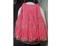 Ladies summer skirts one pink and one blue with silver sequins both size 8