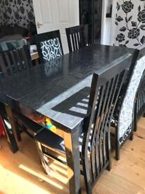 6 seater black hi gloss dining table