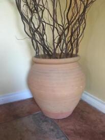 Large terracotta pot and willow tree