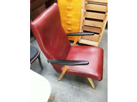 vintage retro 50s 60s mid century red faux leather vegan lounge chair armchair