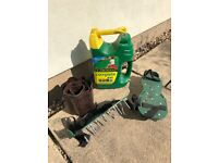Lawn care essentials - Evergreen 4-in-1, aerating shoes, lawnborder