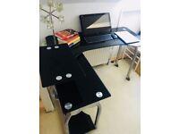 L Shape Computer PC Desk, Extended/Corner Desk- Black glass (in GOOD Condition!)