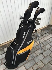 Wilson ultra bag and clubs full set including driver and two hybrids. Barely used collection only.