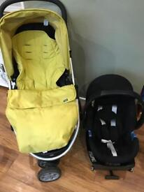 Pram, cosy toes, isofix and car seat