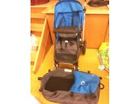 Bugaboo Cameleon, bright blue and grey, with cup holder and bag