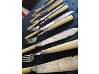 Sheffield silver plate and Bakelite cutlery 12 piece