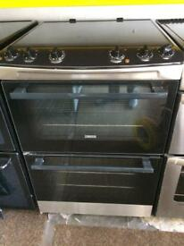 Stainless steel zanussi 60cm ceramic hub electric cooker grill & double fan assisted ovens with guar