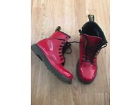 Girls red dr martens size 2