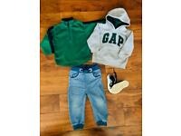 Gap boy hoodies pullover jeans and new sneakers, 2 years