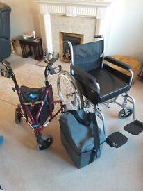 Lightweight Wheelchair with deep cushion. Powerstroll, lightweight triwalker