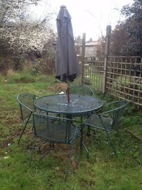 Cast aluminium patio set Including windup parasol umbrella- offers accepted
