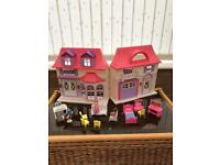 Dolls house, dolls and furniture
