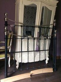 Victorian style double bed frame / black metal with silver finales