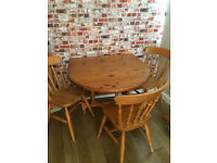 Solid wood drop leaf dining table with 3 farmhouse chairs