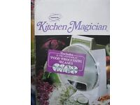Popeil's Kitchen Magician with food cutting blades, instructions and original packaging