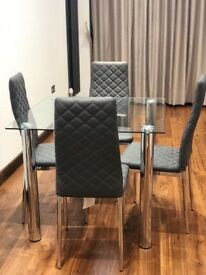 Nova Square Chrome and Glass Table with 4 Renzo Gray Chairs