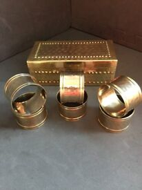 Vintage 6 Brass Napkin Rings with Genuine Hand Hammered Box.