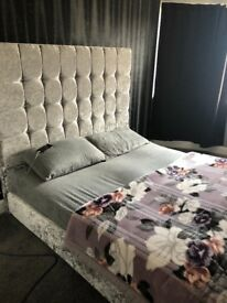 King size bed for sale nearly new velvet silver grey