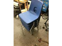 Small kids school chairs in blue x5