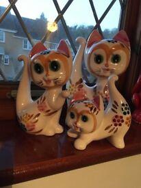 3 kitsch retro ceramic cat ornaments. Vintage