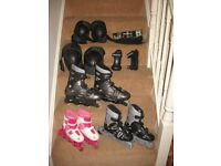 3 sets rollerskates California Advanced Trans800 Trans300 & xrt raider +Hudson knee/elbow/wrist pads