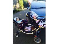 Fab Double Pushchair plus car seats and covers