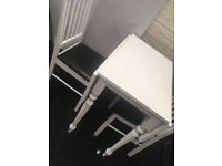 White Drop Leaf table and 2 Chairs