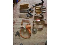 Woodworking Carpenters Joinery Tools - electric drill - hand plainer - 6 chisels - 2 saws