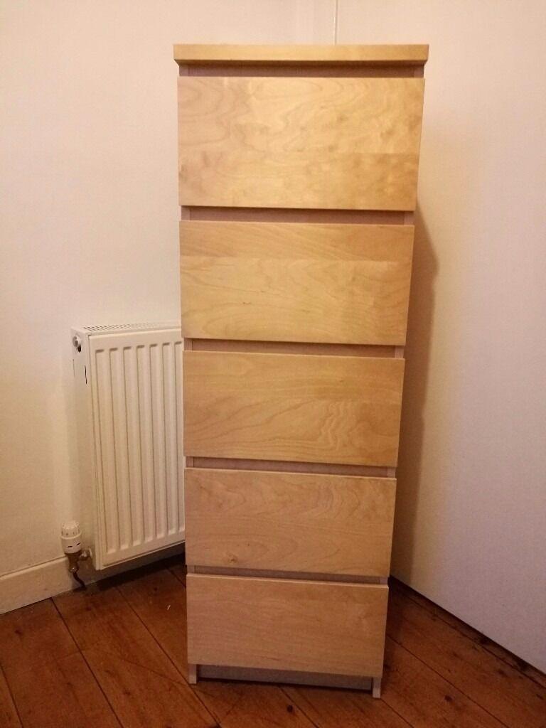 Ikea Malm 5 Drawer Tall Chest