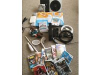 MASSIVE BUNDLE - Wii Console + Controllers + 13 Games + DJ Turntable + Dance Mat + More
