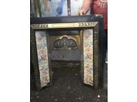 Solid brass fireplace with tiled insert