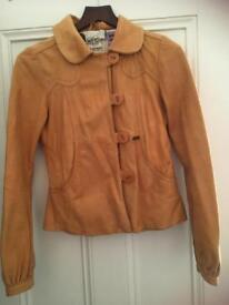 Numph Genuine leather jacket, yellow, in size 10