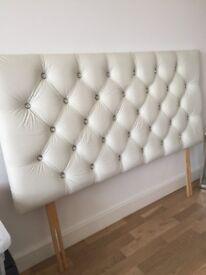 Bed headboard/ stand diamante button white leatherette