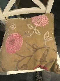 2 x CUSHIONS PINK BEIGE TAUPE FLORAL