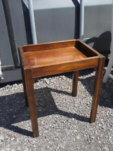 "Oakville ANTIQUE SMALL TABLE or STOOL Solid wood 13x17x20"" Vintage Retro Mid-century MCM Mahogany"