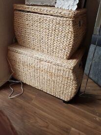 Wicker stprage boxes