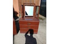 Chest of drawers, bedside table, table mirror