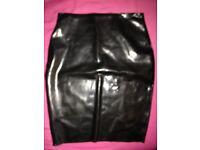 Black translucent latex skirt