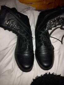 Ladies black lace up boots size 7