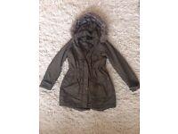 DOROTHY PERKINS Khaki Duffle Coat (Size 10)