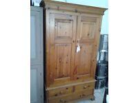 Stunning old pine double wardrobe