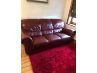 Red, 3 seater leather sofa for sale